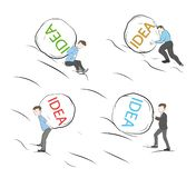 Businessmen pushing stones up. inscription on stone IDEA. vector illustration. vector illustration
