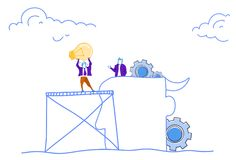 Businessmen putting light lamp human head silhouette gear wheels brainstorming process generate new idea teamwork. Concept horizontal sketch doodle vector royalty free illustration