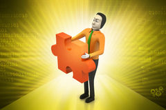 Businessmen  with  puzzle piece Stock Photography
