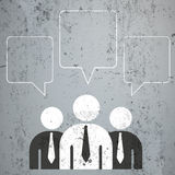 3 Businessmen Quadratic Speech Bubbles. 3 businessmen with speech bubbles on the concrete Stock Image