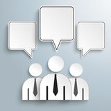3 Businessmen Quadratic Speech Bubbles Royalty Free Stock Photography