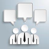 3 Businessmen Quadratic Speech Bubbles Royalty Free Stock Photography