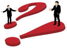 Businessmen question and exclamation mark. Well dressed business men standing on a big red 3d question mark and a and exclamation mark explaining and gesturing Stock Image