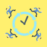 Businessmen racing against time around a clock. And all day all night Royalty Free Stock Photos