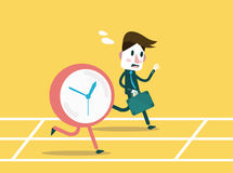 Businessmen racing with clock. Business workforce Concept. Flat design element. Vector illustration Royalty Free Stock Photography