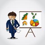 Businessmen real estate presentation concept. Business man doing a real estate presentation of graph trending upwards. EPS10 vector Stock Image