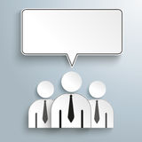 3 Businessmen Rectangle Speech Bubbles. Businessmen with speech bubble on the gray background stock illustration