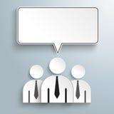 3 Businessmen Rectangle Speech Bubbles Stock Image