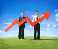 Businessmen with Red Arrow. Businessmen with a red arrow stock photo