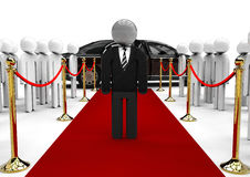 Businessmen on red carpet. 3D render image representing a businessmen on red carpet with fans vector illustration