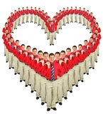 Businessmen in red shirts heart collage stock photography
