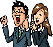 Businessmen rejoice. Men and women of businessmen rejoice to raise your hand Royalty Free Stock Image