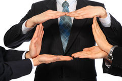 Businessmen represent rectangle from hands. On white Stock Photos