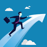 Businessmen Riding on Success Arrow Concept Royalty Free Stock Images