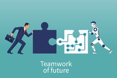 Businessmen and robot connecting puzzle elements. royalty free illustration