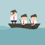 Businessmen in rowing boat two rowers one captain manager boss leader. Royalty Free Stock Photo