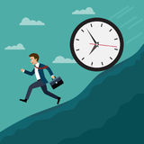 Businessmen run away from the big clock. Business concept, Flat style vector illustration Royalty Free Stock Photo