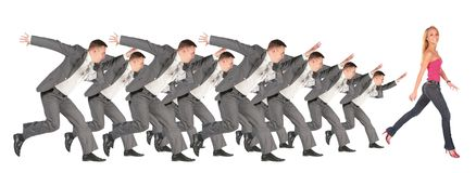 Businessmen run for the girl collage Stock Image
