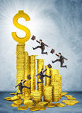Businessmen run and jump on money stairs Stock Photo
