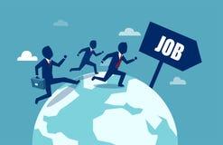 Businessmen running around the world in search for better job stock illustration