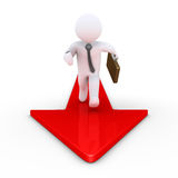 Businessmen is running on arrow Stock Photo