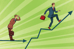 Businessmen running chart growth and look forward Stock Image