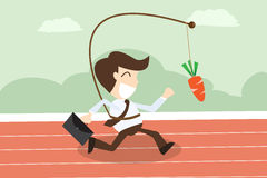 Businessmen running with hanging carrot in motivation concept. The cartoon Business idea concept Royalty Free Stock Photos