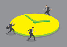 Businessmen Running Round the Clock Conceptual Vector. Three businessmen running round a huge clock. Creative vector illustration for business concept on round Royalty Free Stock Photo