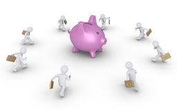 Businessmen running to pig money box Royalty Free Stock Image
