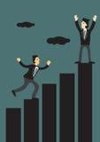 Businessmen Running Up Bar Chart Vector Illustration Royalty Free Stock Images