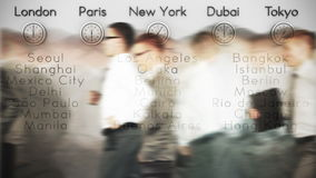 Businessmen Rush Hour with World Clocks and Big Cities on Background, loop, stock footage Royalty Free Stock Image