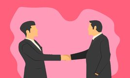 Businessmen`s handshake for confirmation of a partnered company. respect commitment and integrity in product order. vector vector illustration