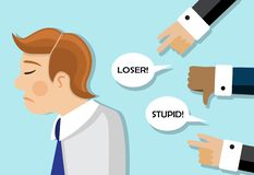 Businessmen are scolded and he is sad. A businessman stands sad and behind his back they scold and insult him vector illustration
