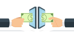Businessmen sending and receiving money by means of modern wireless technology Royalty Free Stock Photo