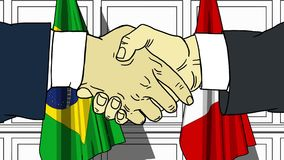 Businessmen or politicians shake hands against flags of Brazil and Peru. Official meeting or cooperation related cartoon