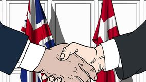 Businessmen or politicians shake hands against flags of Britain and Denmark. Official meeting or cooperation related. Businessmen shake hands against flags of vector illustration