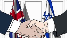 Businessmen or politicians shake hands against flags of Britain and Israel. Official meeting or cooperation related. Businessmen shake hands against flags of royalty free illustration