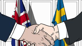 Businessmen or politicians shake hands against flags of Britain and Sweden. Official meeting or cooperation related. Businessmen shake hands against flags of vector illustration