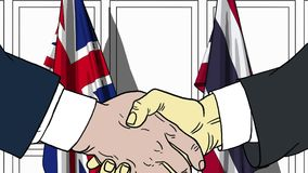 Businessmen or politicians shake hands against flags of Britain and Thailand. Official meeting or cooperation related. Businessmen shake hands against flags of stock illustration