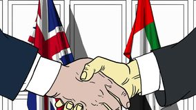 Businessmen or politicians shake hands against flags of Britain and UAE. Official meeting or cooperation related cartoon. Businessmen shake hands against flags vector illustration