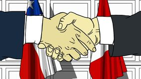 Businessmen or politicians shake hands against flags of Chile and Peru. Official meeting or cooperation related cartoon