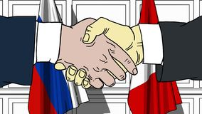Businessmen or politicians shake hands against flags of Russia and Peru. Official meeting or cooperation related cartoon