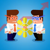 Businessmen shake hands. Flat design. Happy businessmen shake hands at the achievements of a successful transaction. Flat design Royalty Free Stock Photos