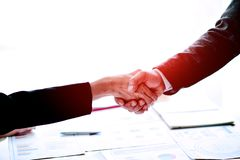 Businessmen shake hands Teamwork, teamwork, understanding, work stock photo