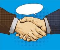 Businessmen shake hands vector illustration in retro pop art style. Partnership handshake concept poster in comic design Stock Photography