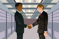 Businessmen shaking hands. A  illustration of two businessmen shaking hands in a technology datacenter Stock Image