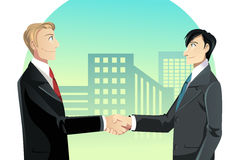 Businessmen shaking hands. A vector illustration of two businessmen shaking hands Stock Image