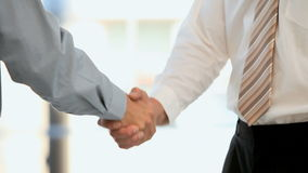 Businessmen shaking hands stock video