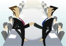 Businessmen shaking hands. Illustration of businessmen at long table with two shaking hands in foreground Stock Photos