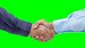 Businessmen shaking hands animation green screen